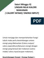 III . Perhitungan Kebutuhan Kalori
