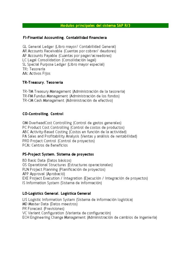 Modulos Principales Del Sistema Sap 1