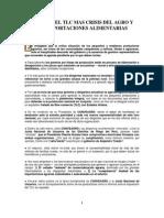 A 7 AÑOS DEL TLC MAS CRISIS DEL AGRO Y MAS IMPORTACIONES ALIMENTARIAS