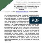 SOLUÇÃO DA PROVA DE MATEMÁTICA E RACIOCÍNIO LÓGICO DO INSS 2008