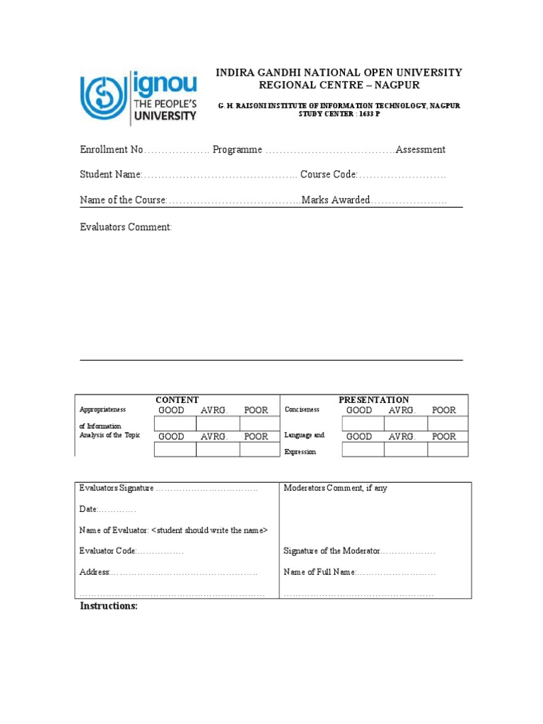 Ignou Assignment Cover Page Format