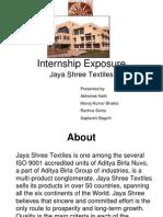 Textile Internship exposure - Jaya Shree Textiles - Aditya Birla