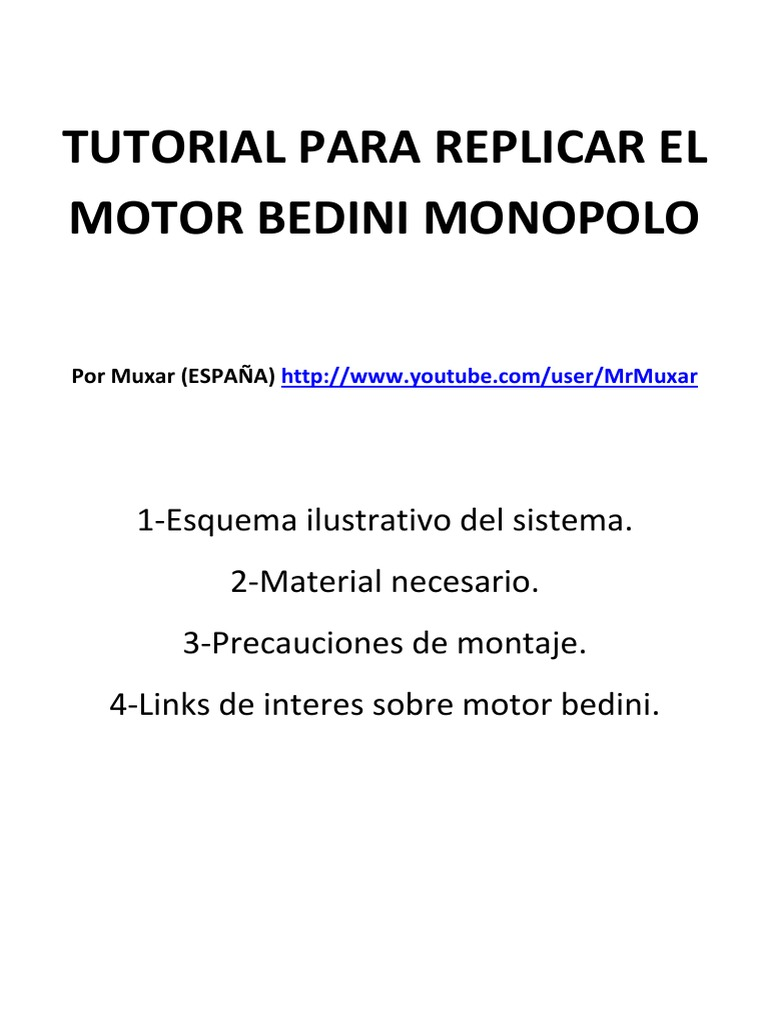 Circuito Motor Bedini : Construye tu motor bedini monopolo pdf
