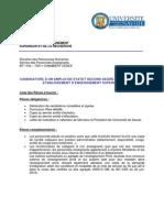 Dossier de candidatura para la campaña de contratación de docentes de español para 2014-2015 SECOND DEGRÉ. Université de Savoie, Chambéry (France)
