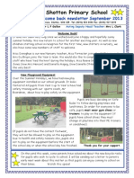 Welcome Back September Newsletter 2013 Shotton Primary School
