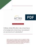 AERES- Criteres Identification Ensgts-Chercheurs