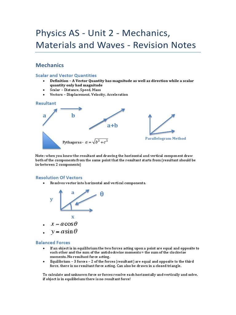 Physics as - Unit 2 - Revision Notes | Diffraction | Waves