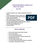 Calendarul Admiterii in Invatamantul Licear de Stat Pentru Anul Scolar 2014-2015