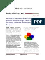 Boletin Informativo No. 1  Marzo 2013 - Criterio de vinculación