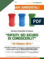 Dr.ssa Paola Fiore ETICAMBIENTE® Seminario Ambientale Rifiuti - Sei Sicuro di Conoscerli 25 Ottobre 2013