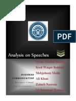 B.com. Assignment # 1 Final Draft (Speeches' Analysis)