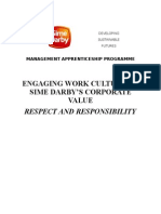 WORK CULTURE ON SIME DARBY'S CORPORATE VALUE