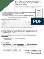 Formulaire Inscription Amsterdam 2013