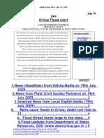 Orissa Flood News Alert Jul 19 09