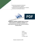 Sistema de Control Interno Para El Activo Circulante de La Empresa Venservi, c.a.