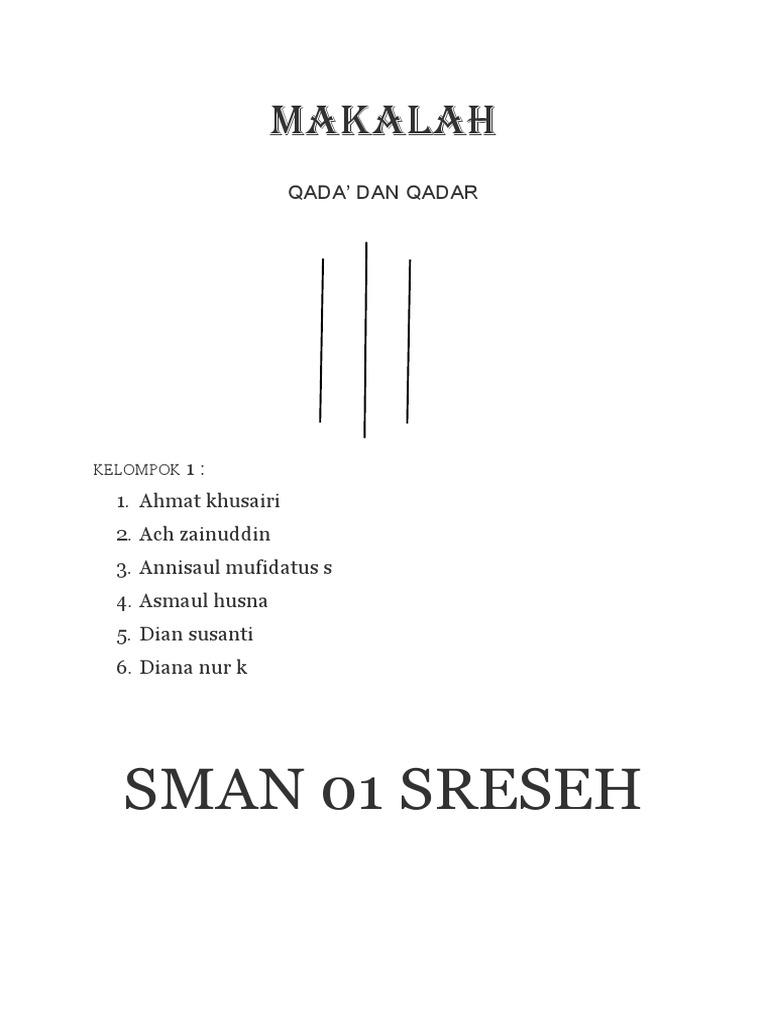 Contoh Makalah Qada Dan Qadar