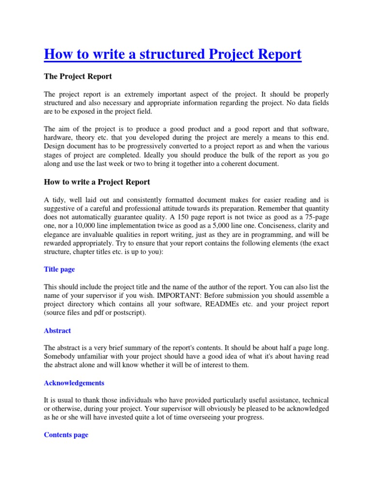 how to write a project report pdf