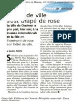 L'Avenir - L'hôtel de VIlle s'est drapé de rose - 12.10.13