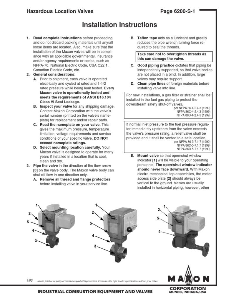Maxon Gas Valve Wiring Diagram