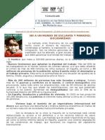 COMUNICADO ACTO INICIO CAMPAÑA POR LA JUSTICIA NORTE SUR OCTUBRE 2013