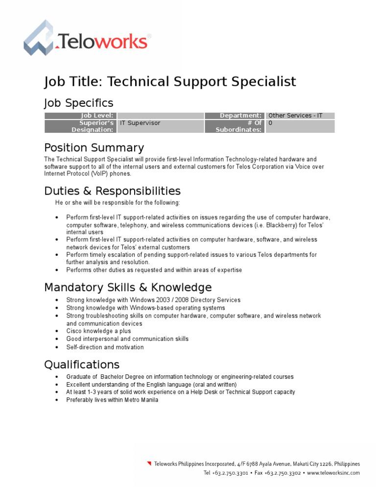 Job Description - Technical Support Specialist