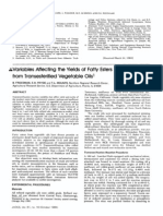 1984 Variables Affecting the Yield Fatty Ester From Transesterified Vegetable Oils