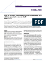 Riesgo de incidencia de diabetes en pacientes tratados con estatinas