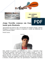Jorge Vercillo começa em Campina Grande turnê pelo Nordeste