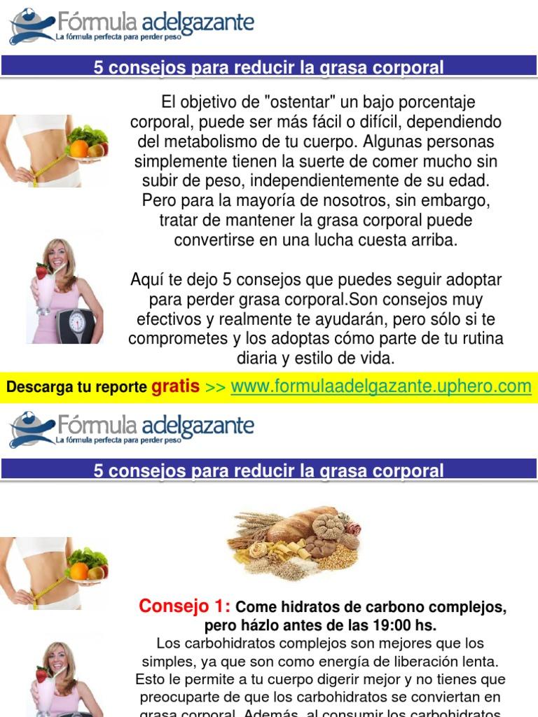 Fórmula para perder grasa corporal