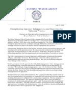 FHFA HVCC Notice