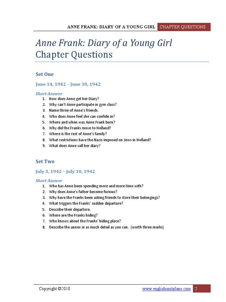Short Answer Anne Frank | Anne Frank | Fiction & Literature