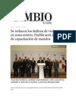 11-10-2013 Diario Matutino Cambio de Puebla - Se reducen los índices de violencia en zona centro; Puebla será centro de capacitación de mandos