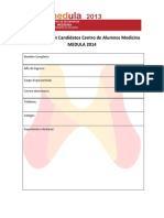 Ficha de Inscripción Candidatos MEDULA 2014
