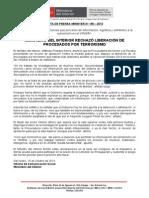 MINISTERIO DEL INTERIOR RECHAZÓ LIBERACIÓN DE PROCESADOS POR  TERRORISMO