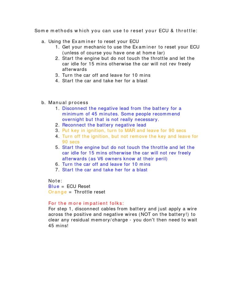 HOW TO: ECU & Throttle Reset