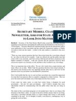 Merrill Statement Regarding E-Newsletter
