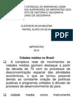 CIDADE MÉDIAS NO BRASILapresentação