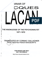 Lacan Book 19a the Knowledge of the Psychoanalyst 1971 1972