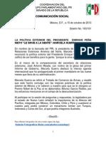 15-10-13 BOLETIN No. 163-161 SENADORA MARCELA GUERRA COMPARECENCIA SRE