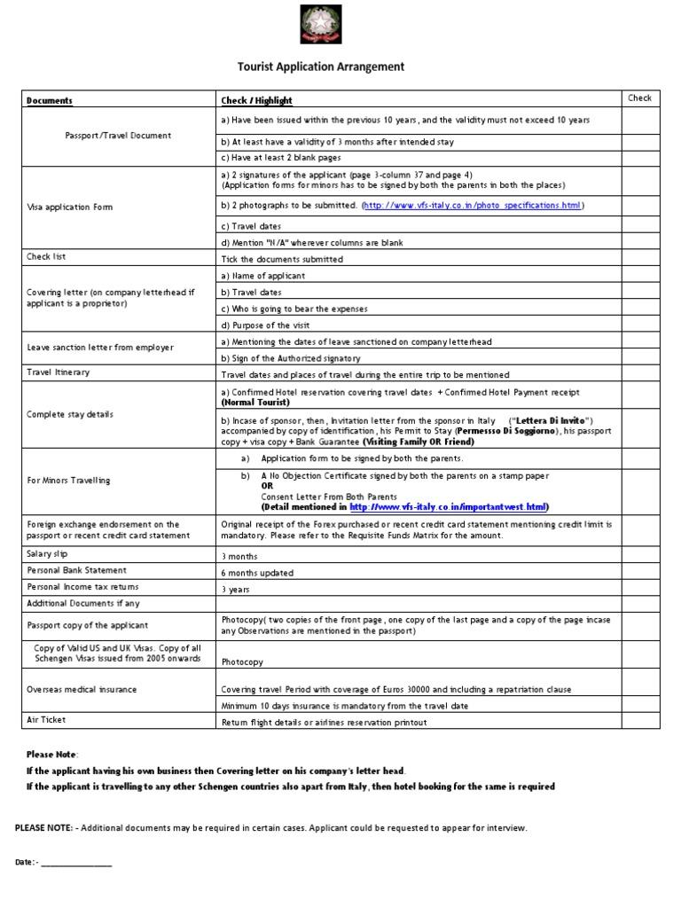 Tourist visa checklist 170412 travel visa passport altavistaventures Gallery