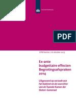 Cpb Notitie 16okt2013 Ex Ante Budgettaire Effecten Begrotingsafspraken 2014
