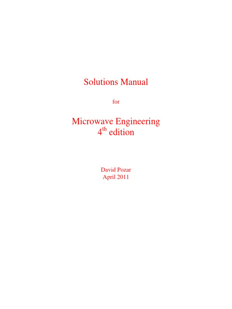Microwave Engineering Pozar 4th Ed Solutions Manual Radio Electronics