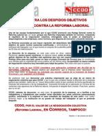 1711313-CCOO Contra Los Despidos Objetivos en Correos Contra La Reforma Laboral