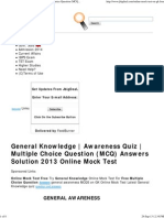 General Knowledge _ Awareness Quiz _ Multiple Choice Question (MCQ) Answers Solution 2013 Online Mock Test