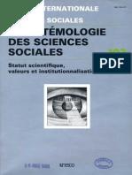 L'épistémologie des sciences sociales, RISS n° 102, UNESCO, 1984