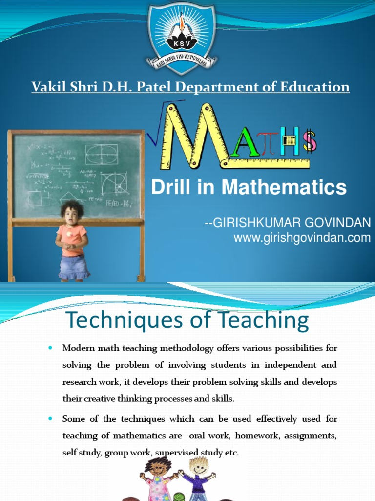 Drill in Maths | Physics & Mathematics | Mathematics