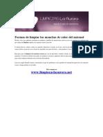 Remedio casero para limpiar las manchas de color del mármol, aportado por Limpiezas la Aurora