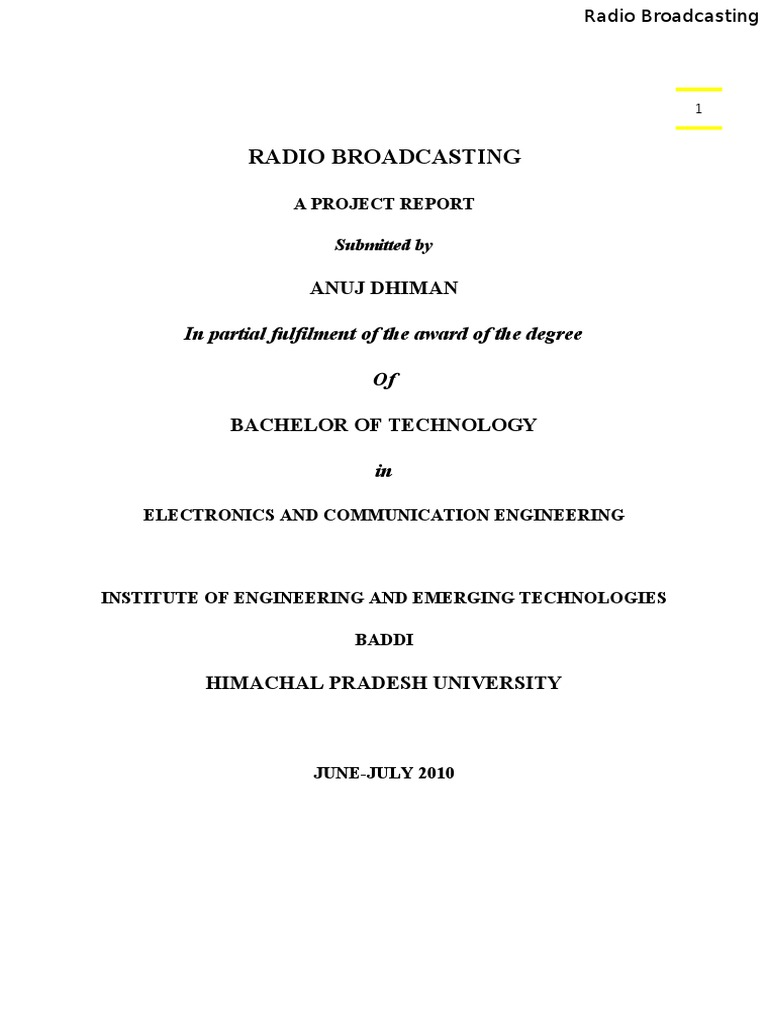 Training Report On Radio Broadcasting Modulation Sampling Boosting The Output Power Of Low Fm Broadcast Band Exciters Is Signal Processing