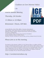 Invitation to the Core Internet Values IGF Bali Meeting