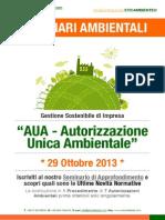 Dr.ssa Paola Fiore ETICAMBIENTE® Seminario Ambientale AUA - Autorizzazione Unica Ambientale 29 Ottobre 2013